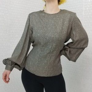 Vintage 70s/80s David Hayes black/gold silk blouse